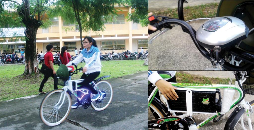 nữ sinh tự chế xe đạp điện
